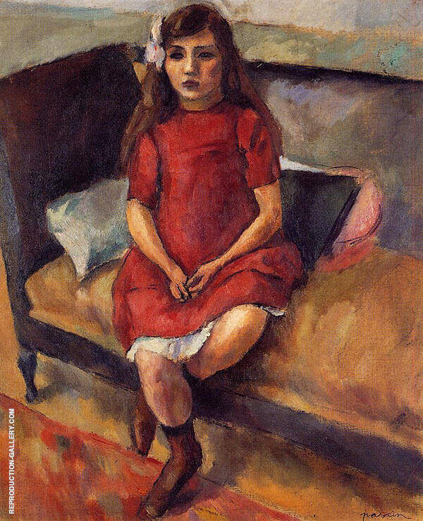 Young Girl in Red 1911 Painting By Jules Pascin - Reproduction Gallery