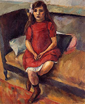 Young Girl in Red 1911 By Jules Pascin