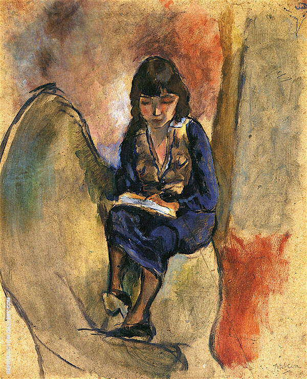 Young Reader in Blue Painting By Jules Pascin - Reproduction Gallery