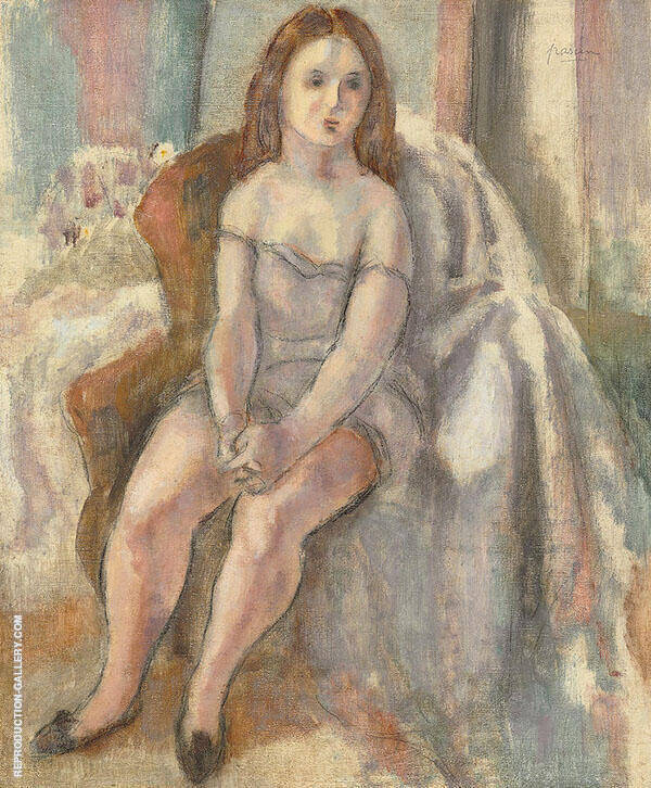 Young Woman in White Chemise Painting By Jules Pascin