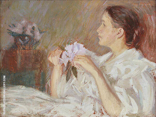 Lady in White Holding Lilacs by Philip Leslie Hale   Oil Painting Reproduction Replica On Canvas - Reproduction Gallery