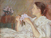 Lady in White Holding Lilacs By Philip Leslie Hale