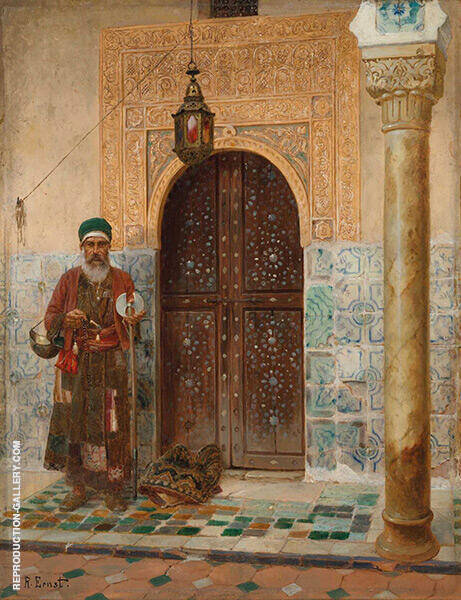 A Holy Man by an Entrance By Rudolf Ernst