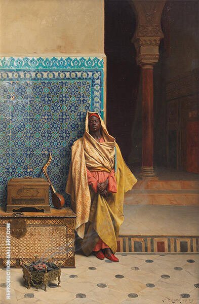 At The Mosque 1895 Painting By Ludwig Deutsch - Reproduction Gallery