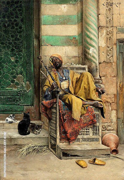The Goza Smoker Painting By Ludwig Deutsch - Reproduction Gallery