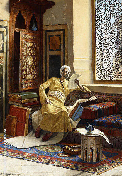 The Scholar 1895 Painting By Ludwig Deutsch - Reproduction Gallery