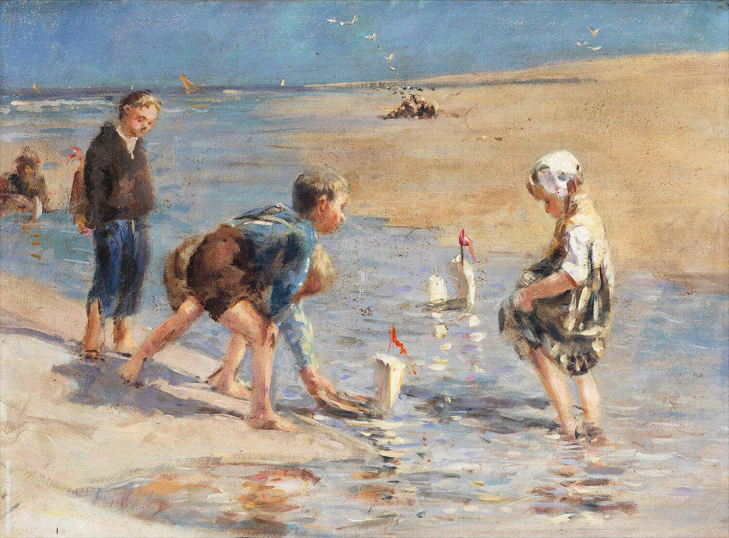 Children Playing at The Beach By Bernardus Johannes Blommers