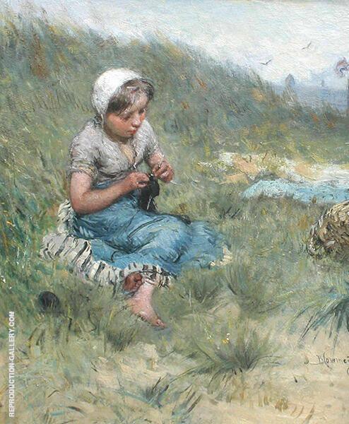 Dune Landscape with Knitting Girl By Bernardus Johannes Blommers