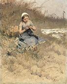 Girl Knitting 1885 By Bernardus Johannes Blommers