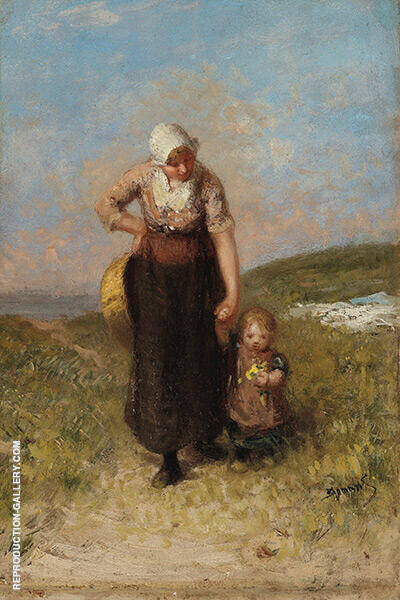 Mother and Child Strolling in The Dunes By Bernardus Johannes Blommers