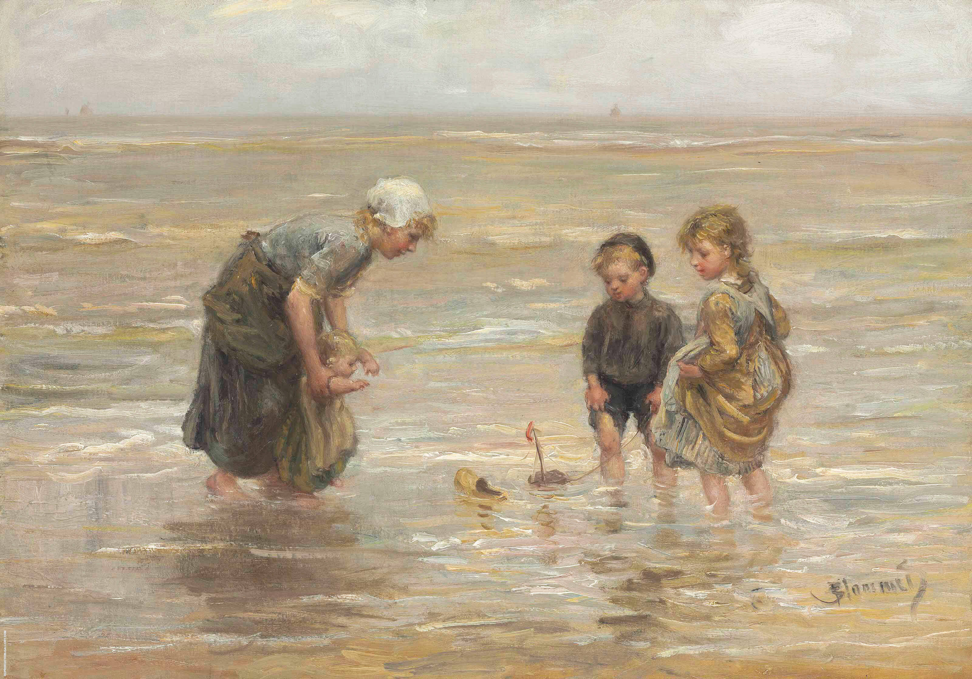 Playtime on The Beach By Bernardus Johannes Blommers