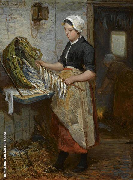 Preparing The Fish By Bernardus Johannes Blommers