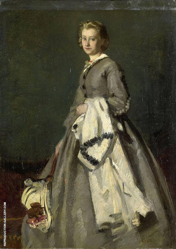 A Young Woman Painting By August Allebe - Reproduction Gallery