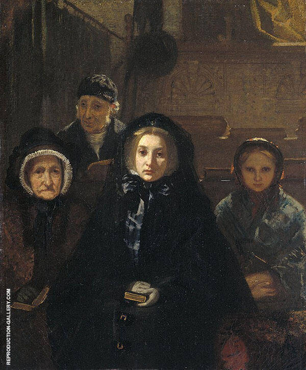 Early to Church 1861 Painting By August Allebe - Reproduction Gallery
