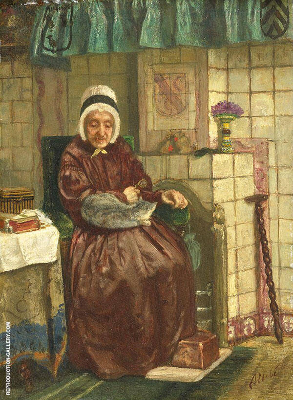 Old Woman by The Fireplace 1875 By August Allebe