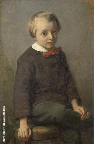 Portrait of a Boy 1856 Painting By August Allebe - Reproduction Gallery