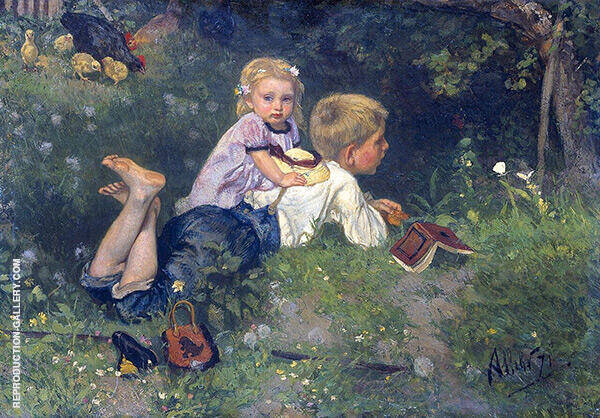 The Butterflies 1871 Painting By August Allebe - Reproduction Gallery