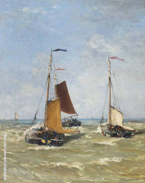 Barge Boats at Sea By Hendrik Willem Mesdag