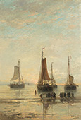 Bluff Bowed Scheveningen Boats at Anchor By Hendrik Willem Mesdag