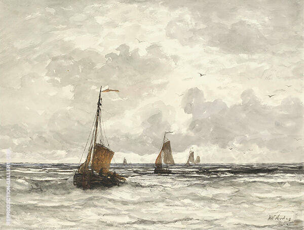 Fishing Boats in The Surf By Hendrik Willem Mesdag