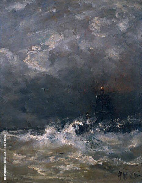 Lighthouse in The Surf By Hendrik Willem Mesdag