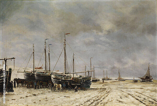 Polder Lake Landscape with Frozen Ships By Hendrik Willem Mesdag
