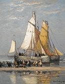 The Return of The Fishing Fleet on Scheveningen Beach By Hendrik Willem Mesdag
