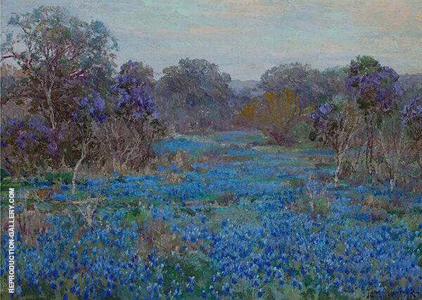 Field of Bluebonnets with Trees By Julian Onderdonk