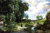 Young Girl in a Long Island Landscape By Thomas Moran