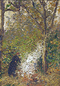 Mrs Dorias in her Garden at Rillieux la Pape By Leon Pourtau