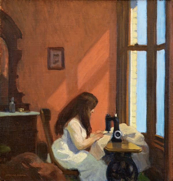 Girl at Sewing Machine 1921 by Edward Hopper   Oil Painting Reproduction Replica On Canvas - Reproduction Gallery