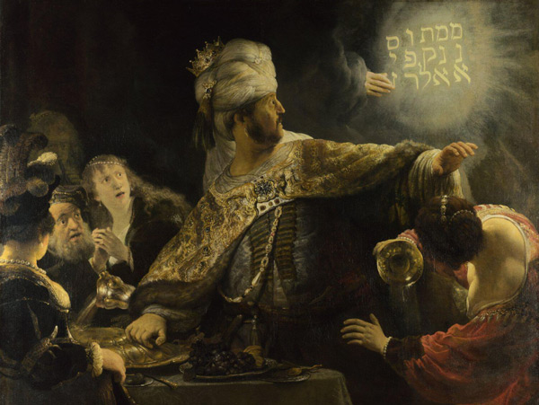 Belshazzar's Feast 1635 by Rembrandt Van Rijn | Oil Painting Reproduction Replica On Canvas - Reproduction Gallery
