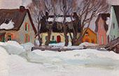 Rue du Village de la Baie St Paul 1920 By Clarence Cagnon
