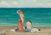 Two Nymphs on The Beach c1910 By Clarence Cagnon