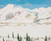 Winter Scene Trees and Mountains By Clarence Cagnon