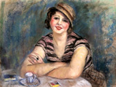 Brunette Woman at the Table, in Front of a Cup of Coffee By Charles Camoin