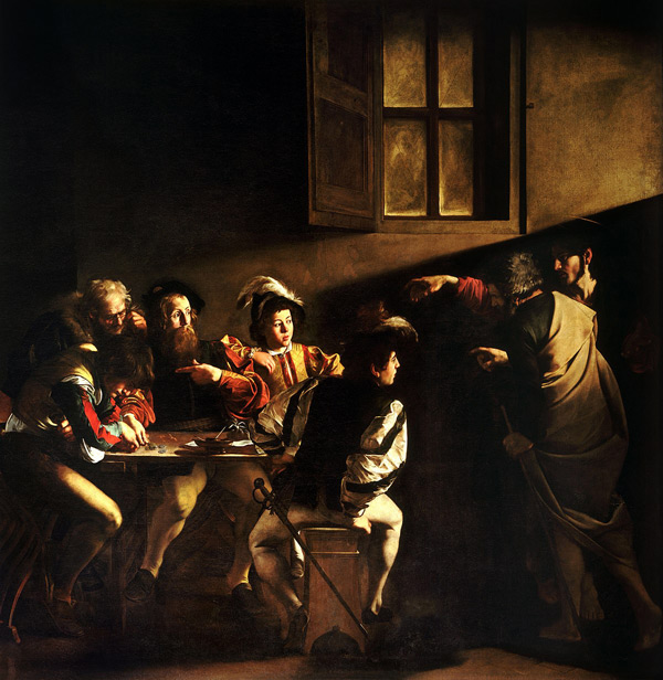 The Calling of St. Matthew c1600 by Caravaggio | Oil Painting Reproduction Replica On Canvas - Reproduction Gallery
