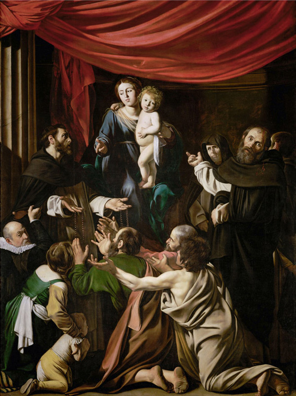 Madonna of the Rosary 1607 by Caravaggio   Oil Painting Reproduction Replica On Canvas - Reproduction Gallery