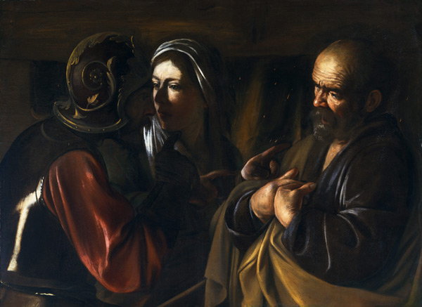 The Denial of St Peter 1610 by Caravaggio   Oil Painting Reproduction Replica On Canvas - Reproduction Gallery