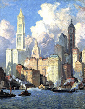 Hudson River Waterfront, NYC, 1921 By Colin Campbell Cooper
