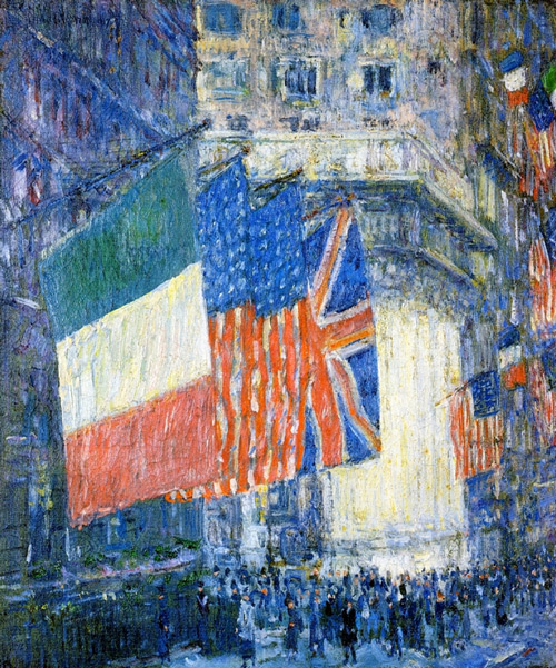 Avenue of the Allies, Flags on the Waldorf, 1917 by Childe Hassam | Oil Painting Reproduction Replica On Canvas - Reproduction Gallery