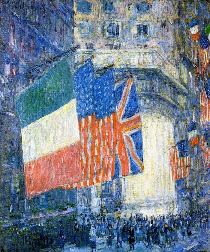 Avenue of the Allies, Flags on the Waldorf, 1917 By Childe Hassam