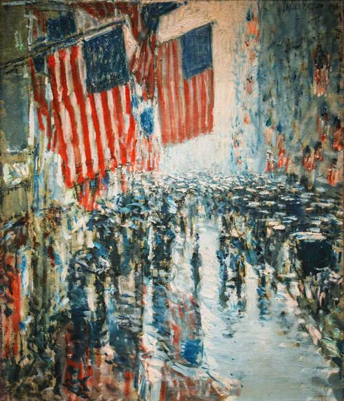 Rainy Day, 5th Avenue 1916 by Childe Hassam | Oil Painting Reproduction Replica On Canvas - Reproduction Gallery