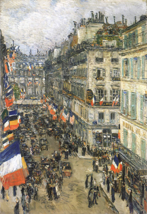 The 14th July Rue Daunou by Childe Hassam   Oil Painting Reproduction Replica On Canvas - Reproduction Gallery