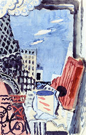 The Window Over Looking The Eiffel Tower By Louis Marcoussis