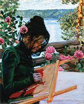 Mary Sewing in Kalela By Akseli Gallen Kallela