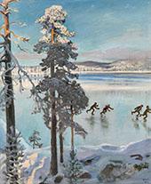 Skaters on Lake Ruovesi By Akseli Gallen Kallela
