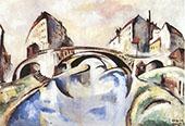Cityscape with Bridge 1910 By Bela Kadar