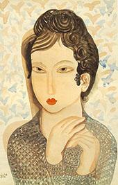 Portrait of a Woman with Black Hair 1938 By Bela Kadar
