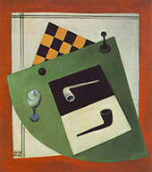 Still Life with Chessboard and Pipe 1920 By Bela Kadar